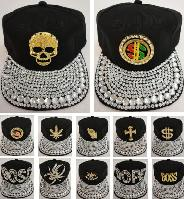 Snap Back Flat Bill Hat with Bling Bling [Assortment]
